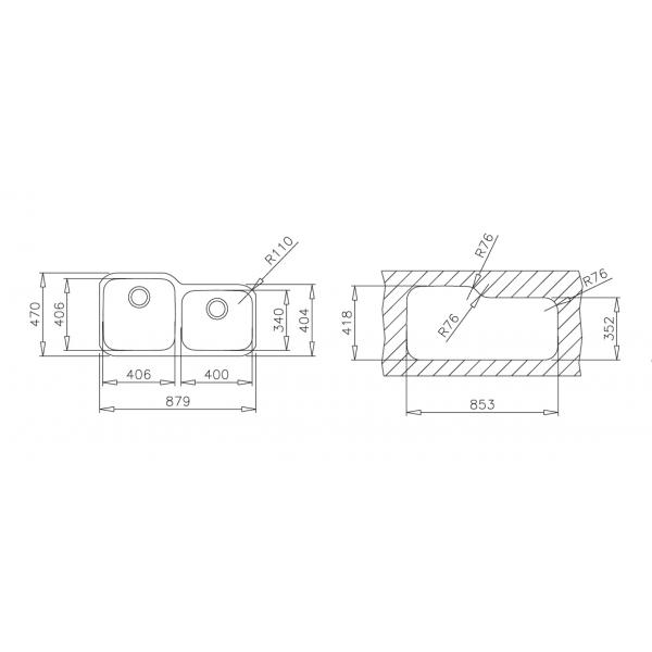 Fregaderos Submontar - TEKA BE 2C 880 (TU 34.18 R) CODIGO 10125042