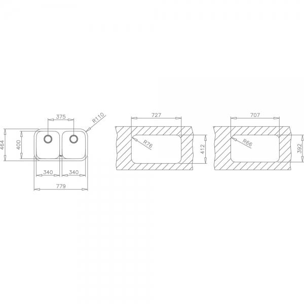 Fregaderos Submontar - TEKA BE 2C 780 (TU 30.18) CODIGO 10125051