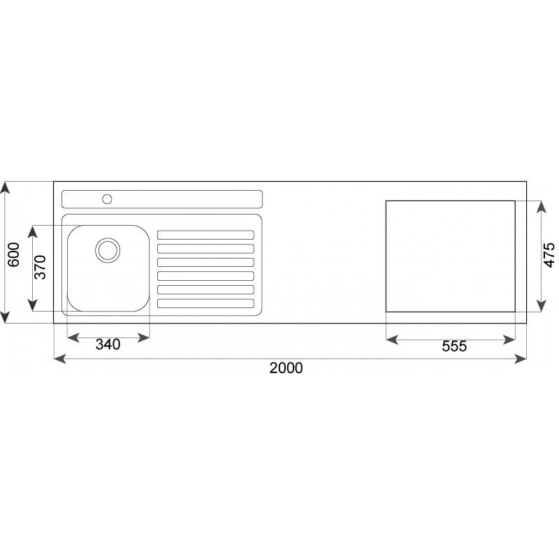 Fregaderos Submontar - TEKA Combinación 200.60 1C 1E C/Hueco CODIGO 10304025
